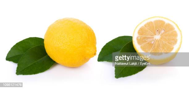 close-up of lemon with leaves against white background - レモン ストックフォトと画像