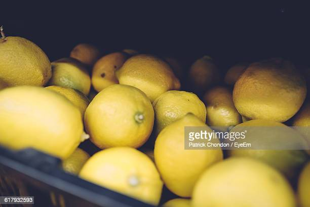 Close-Up Of Lemons In Basket
