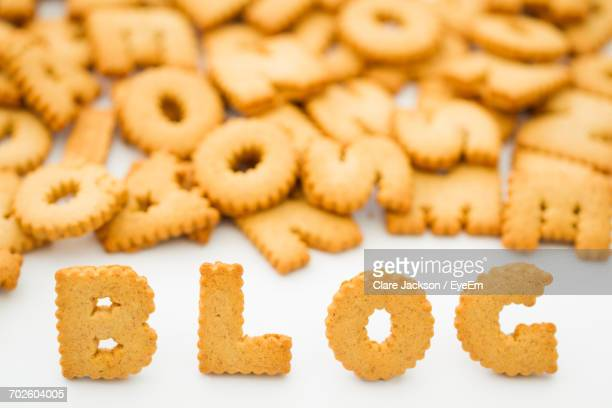close-up of letter-shaped cookies - capital letter stock pictures, royalty-free photos & images