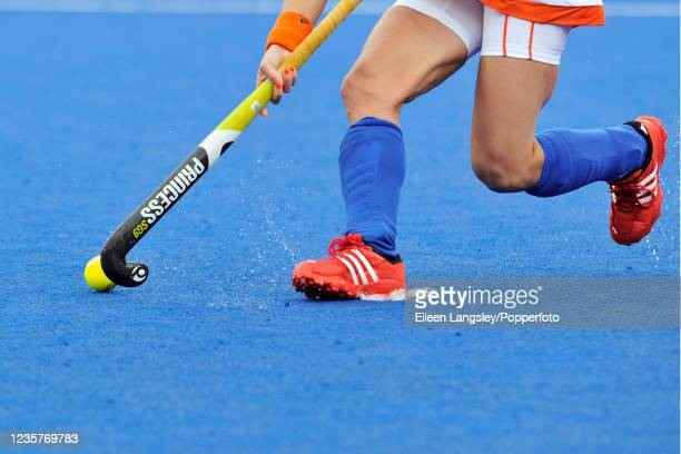 Close-up of Lidewije Welten of the Netherlands in action during the Pool A match between the Netherlands and Japan in the women's Field Hockey...