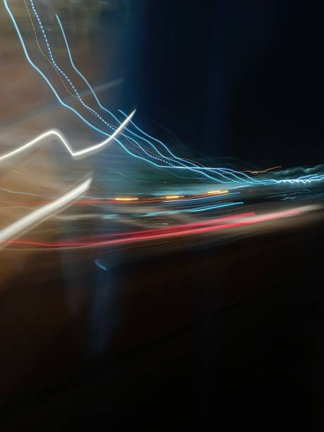 Close-up of light trails at night