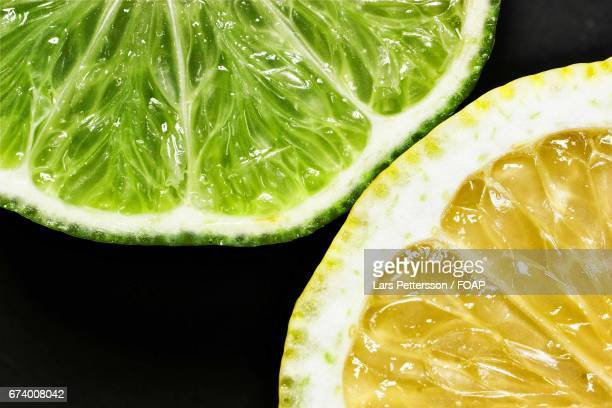Close-up of lime and lemon