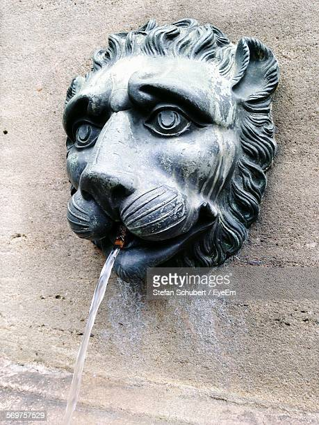 Close-Up Of Lion Head Fountain On Wall