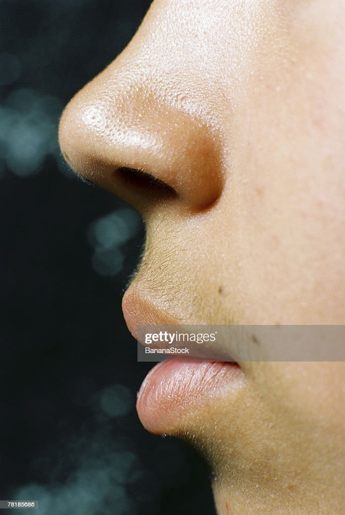 Closeup of lips and nose : ストックフォト