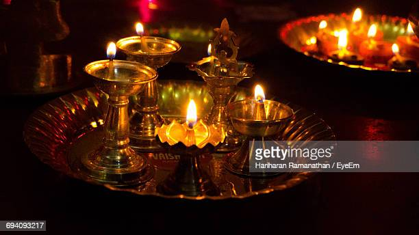 close-up of lit candles - diya oil lamp stock pictures, royalty-free photos & images