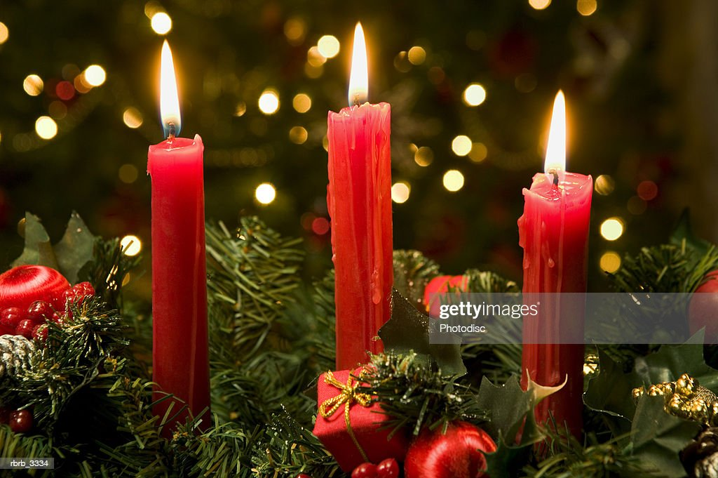 Close-up of lit candles : Foto de stock