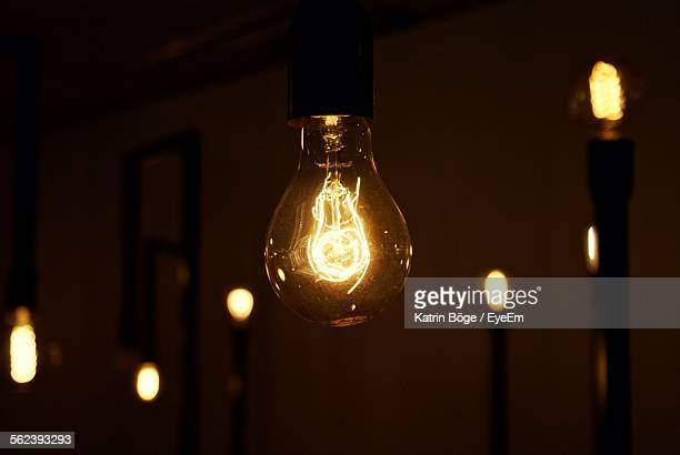 Close-Up Of Lit Up Light Bulb