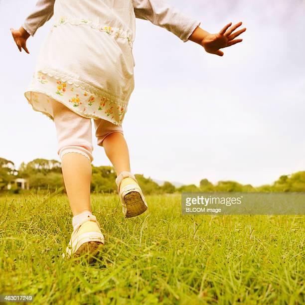 Close-up Of Little Girl Running