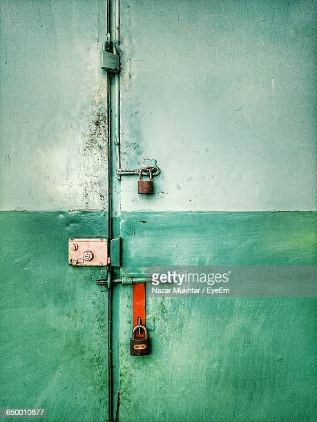 close-up of locked metal door - nazar stock photos and pictures