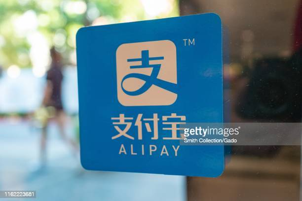 Close-up of logo for Alipay in a retail environment, the payment processing service of Chinese internet conglomerate Alibaba, in the Silicon Valley,...