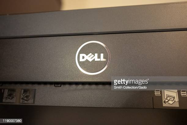 Close-up of logo for Dell computers on a computer peripheral in an office, August 21, 2019.