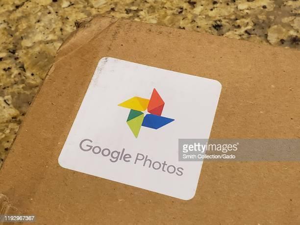Close-up of logo for Google Photos on a shipping box, San Ramon, California, December 8, 2019.