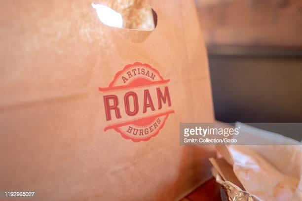 Closeup of logo on bag for Roam Artisan Burgers restaurant Lafayette California November 25 2019