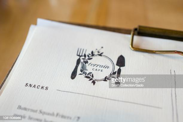 Closeup of logo on menu at Terrain Cafe a farm to table restaurant affiliated with the Anthropologie upscale clothing and home furnishings store at...