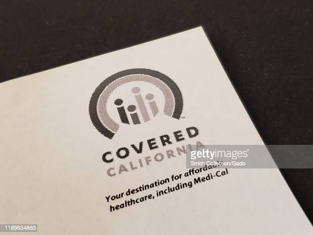 Close-up of logo on paper for Covered California, the State subsidized health insurance exchange and Medicaid administrator for the state of...