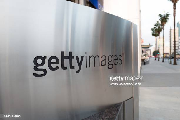 Close-up of logo on sign at the regional office of media licensing company Getty Images in downtown Los Angeles, California, October 24, 2018.