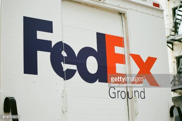 Closeup of logo on the back of a Federal Express Ground delivery truck in Manhattan New York City New York September 15 2017