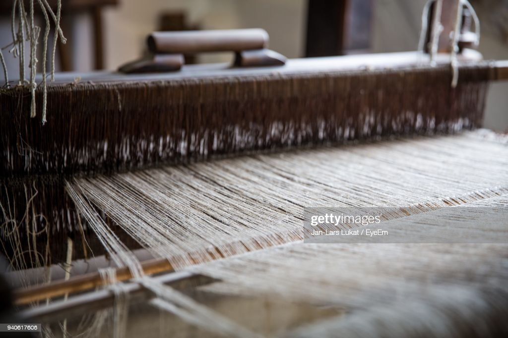 Close-Up Of Loom In Machinery : Stock Photo