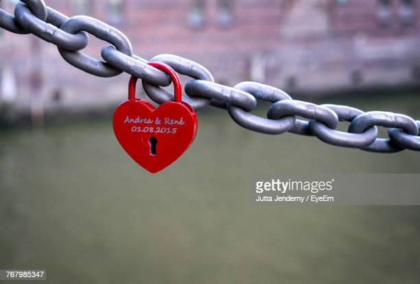 Close-Up Of Love Lock On Chain