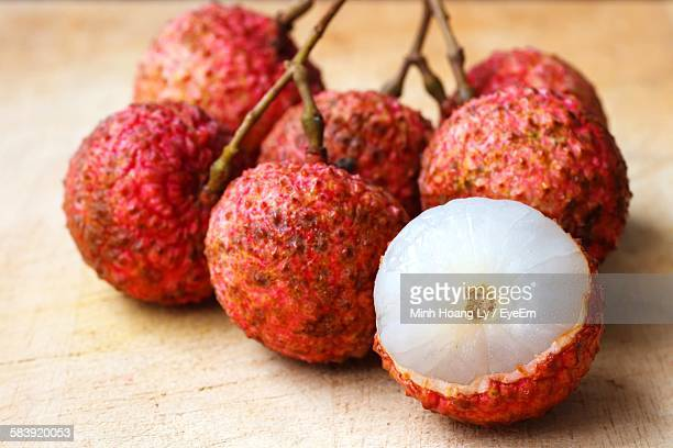 Close-Up Of Lychees On Table