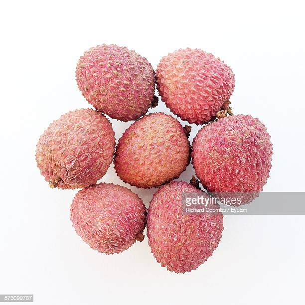 Close-Up Of Lychees On White Background