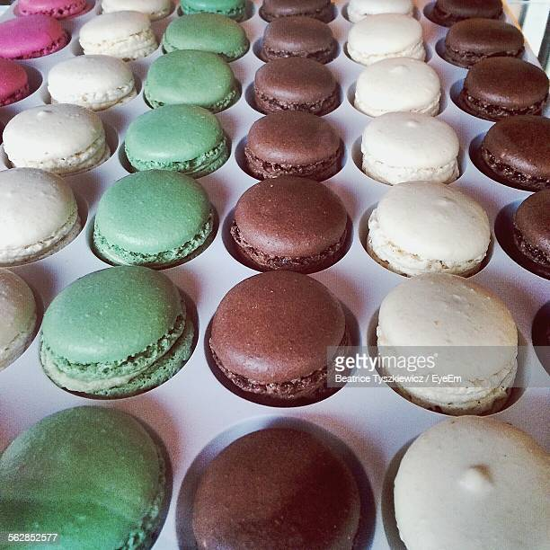 Close-Up Of Macaroon Biscuits In Row