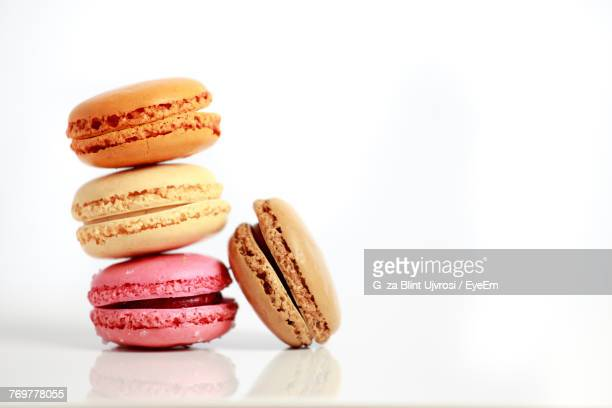 Close-Up Of Macaroons On White Background