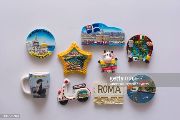 close-up of magnet decorations over white - magnet stock pictures, royalty-free photos & images