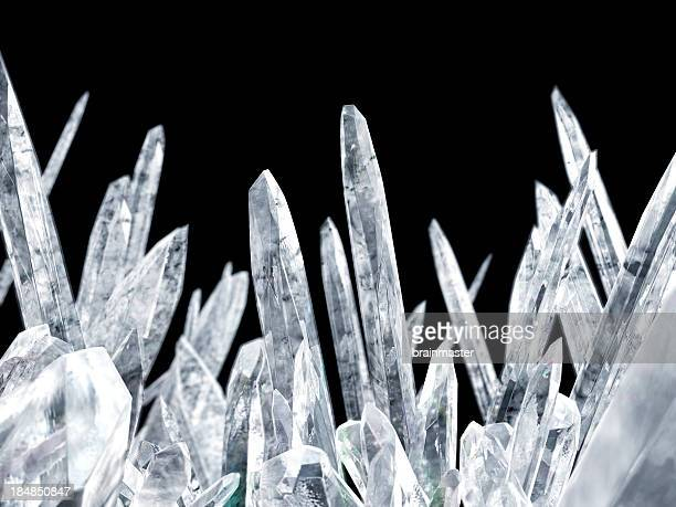 close-up of magnified crystals over a black background - crystal stock pictures, royalty-free photos & images