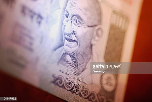 Close-up of Mahatma Gandhi on a one hundred rupee note