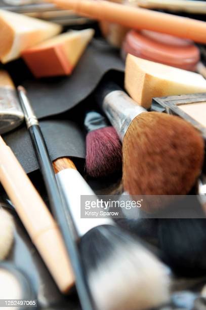 close-up of make-up brushes - stock photo - kristy sparow stock pictures, royalty-free photos & images