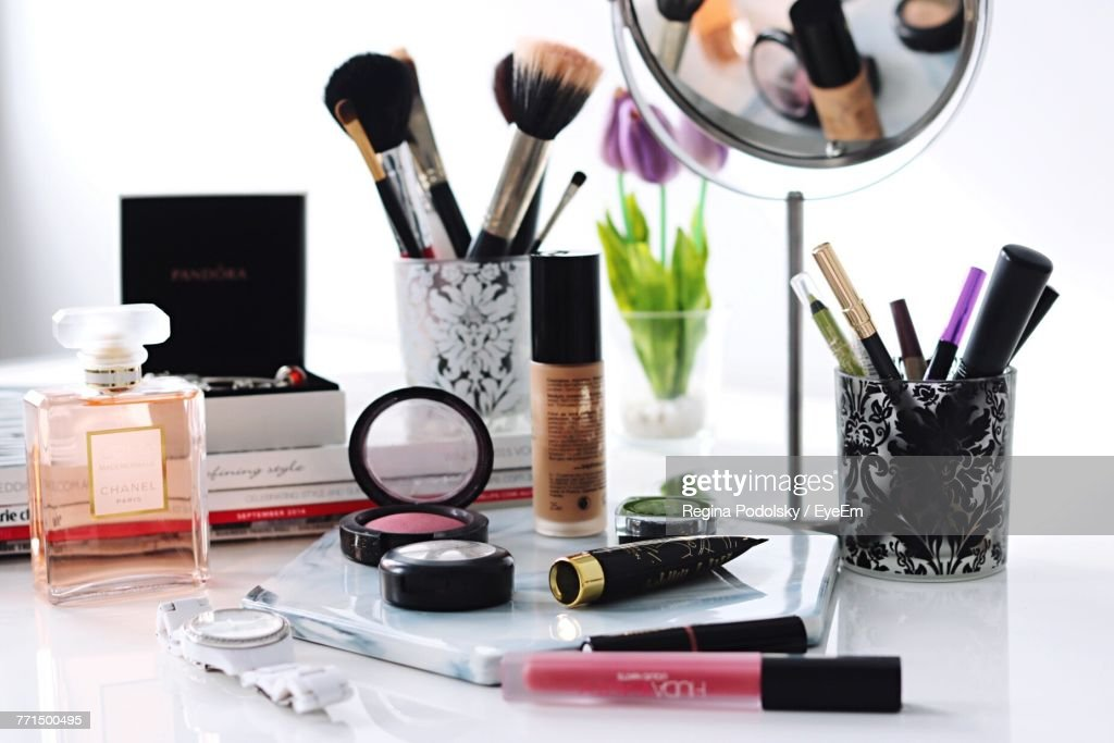 Close-Up Of Make-Up Products On Table : Stock Photo