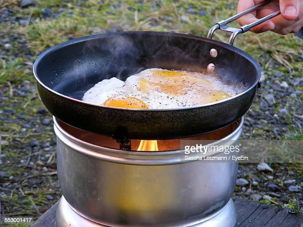 Close-Up Of Making Eggs In Frying Pan
