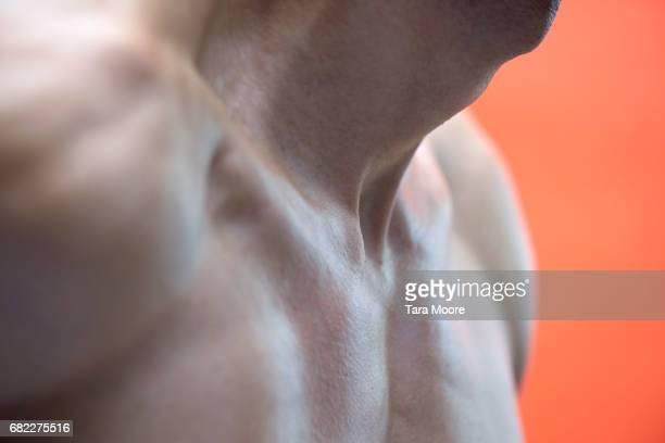 close-up of male chest - torace umano foto e immagini stock