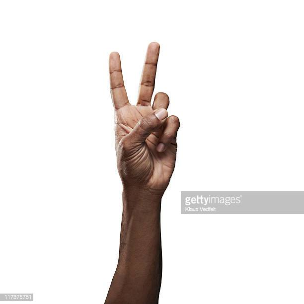 "Close-up of male hand doing ""peace"" sign"