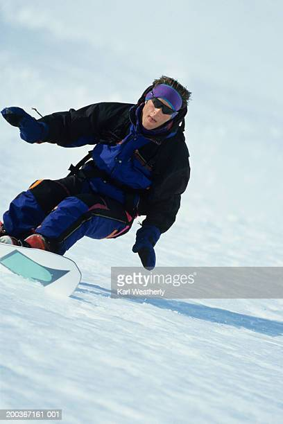 close-up of male snowboarder, chugach mountains alaska, usa - chugach state park stock pictures, royalty-free photos & images