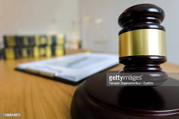 close-up of mallet and gavel on desk - mallet hand tool stock pictures, royalty-free photos & images