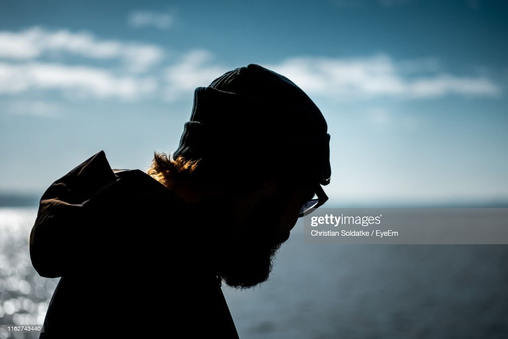 Close-Up Of Man Against Sea And Sky : Stock-Foto