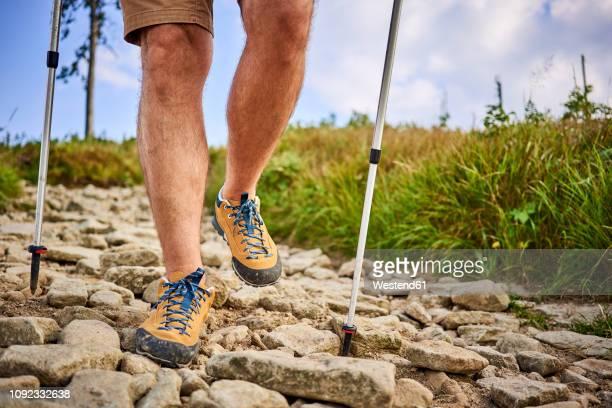 close-up of man hiking on the trail - parte inferior imagens e fotografias de stock