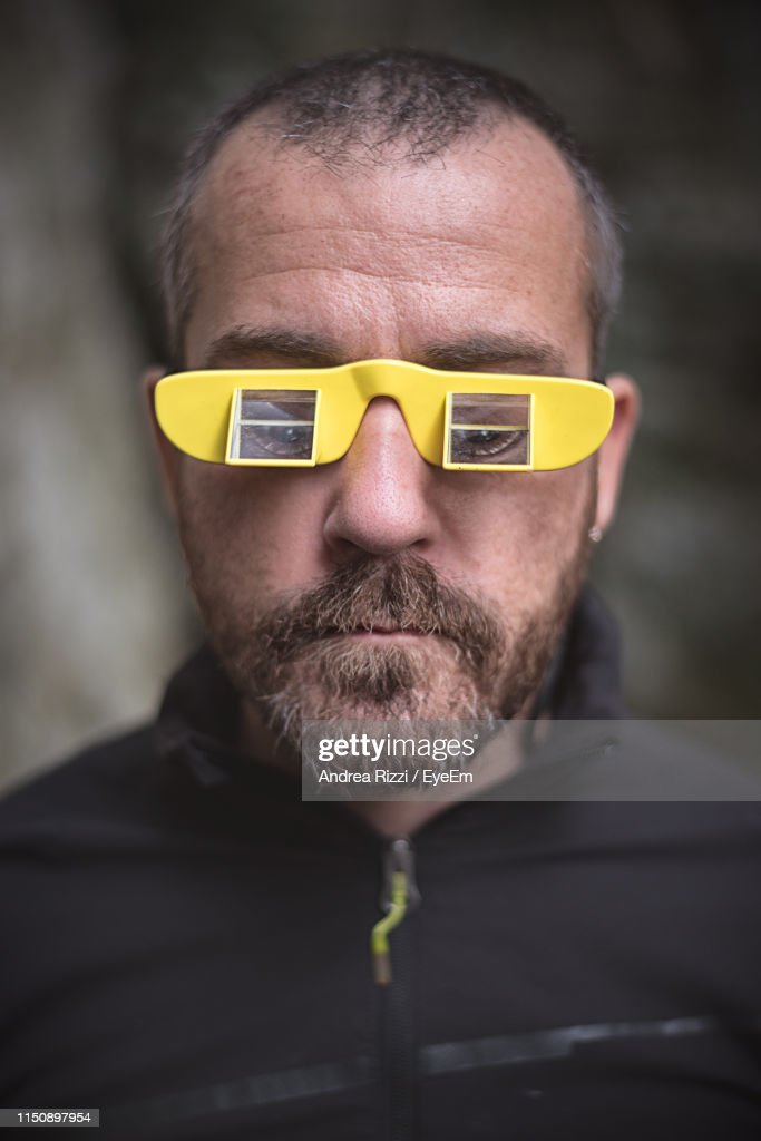 Close-Up Of Man In Belay Glasses : Foto stock