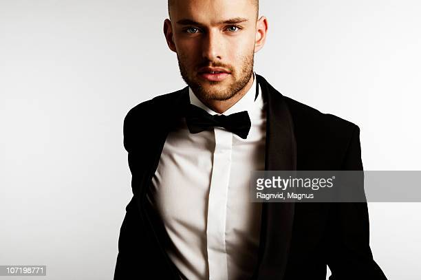 Close-up of man in dinner jacket
