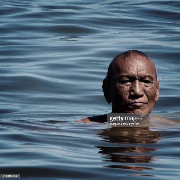 Close-Up Of Man In Sea