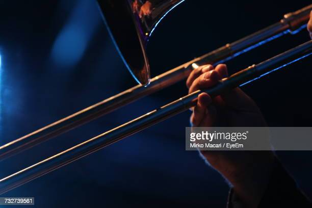 close-up of man playing trumpet - of jazz musicians stock pictures, royalty-free photos & images