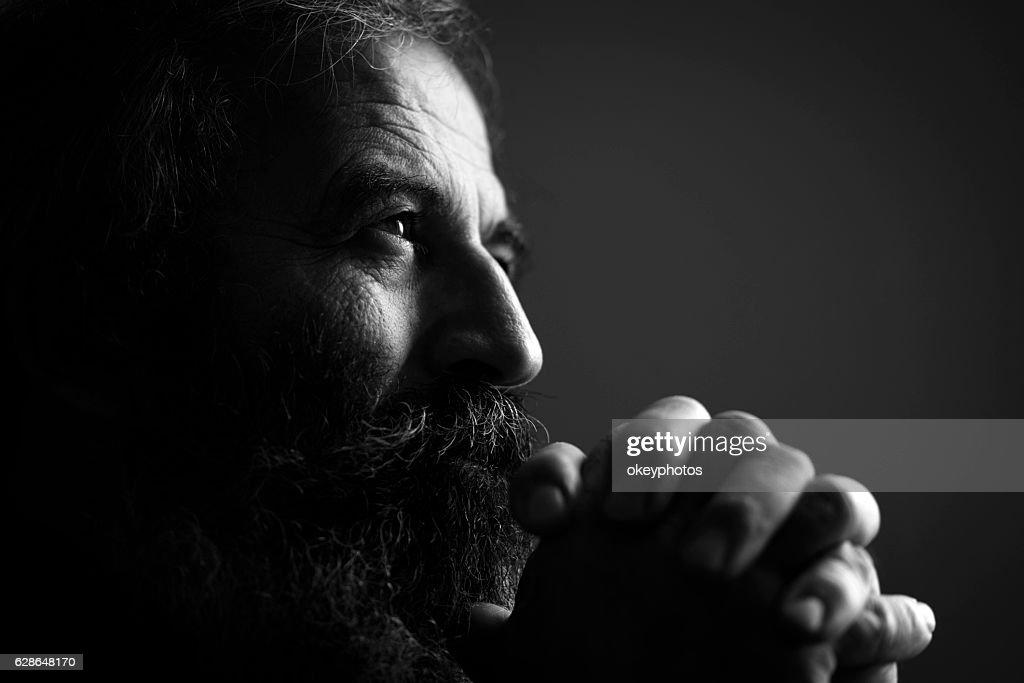 Close-Up Of Man Praying : Foto de stock