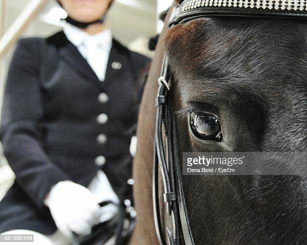 Close-Up Of Man Sitting On Horse