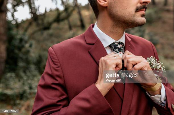 close-up of man wearing a suit in forest adjusting his tie - red suit stock pictures, royalty-free photos & images