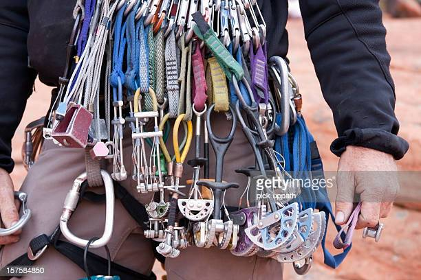 Close-up of Man wearing climbing gear