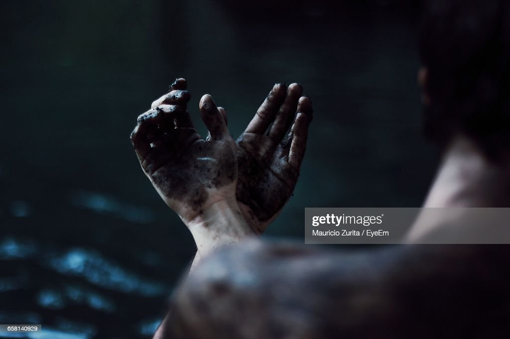 Close-Up Of Man With Dirty Hands : Stock Photo