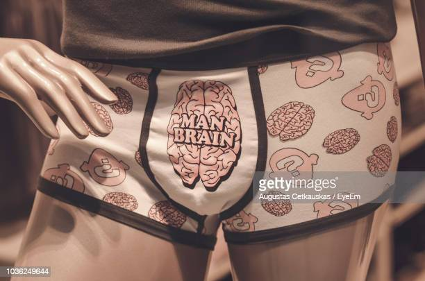 close-up of mannequin wearing underwear at store - male likeness stock pictures, royalty-free photos & images