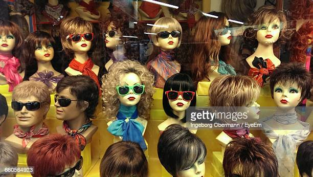 close-up of mannequins wearing sunglasses - wig stock pictures, royalty-free photos & images